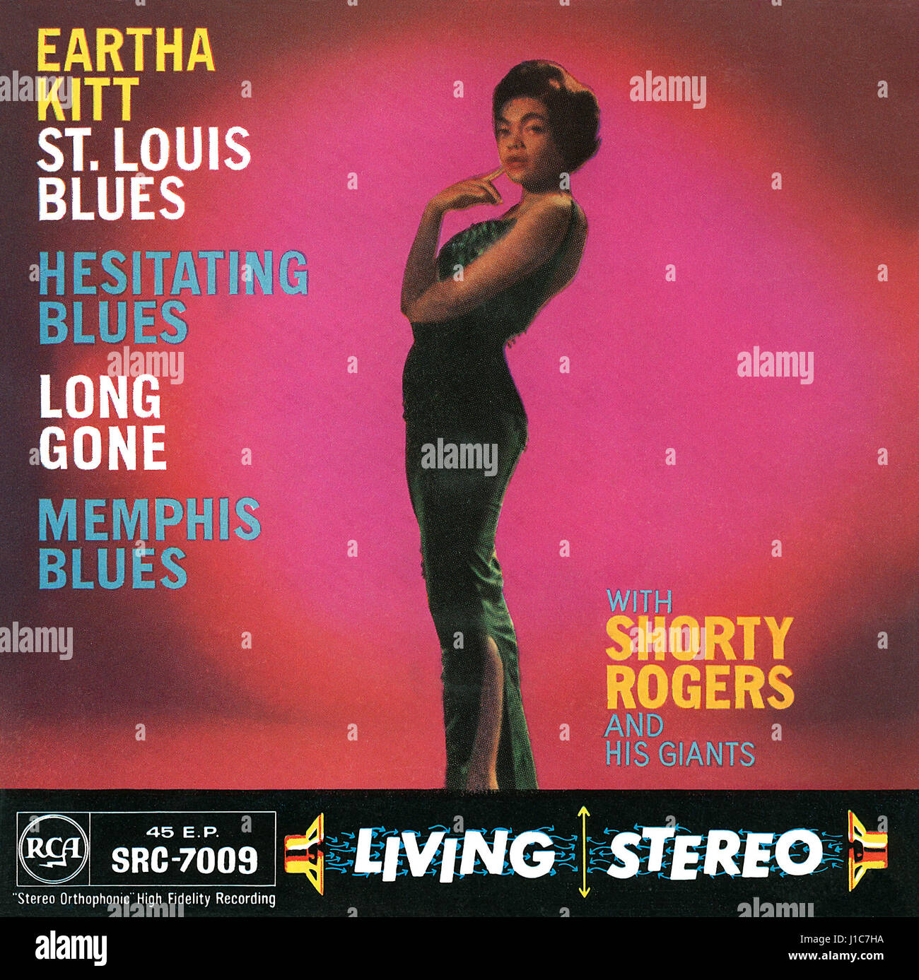 Front cover of the record sleeve for the UK EP St. Louis Blues by Eartha Kitt. Issued on the RCA label in 1958. - Stock Image
