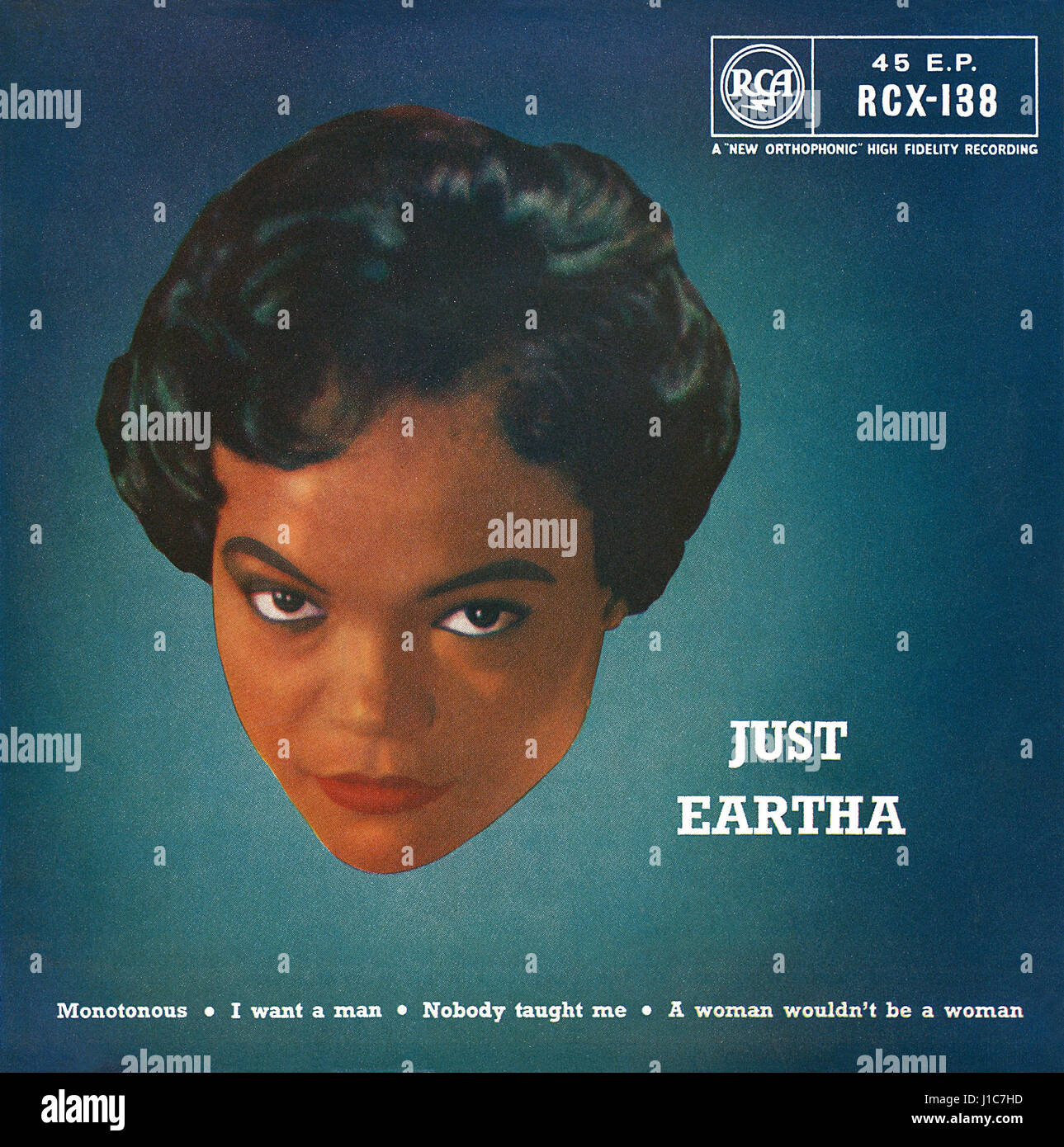 Front cover of the record sleeve for the UK EP Just Eartha by Eartha Kitt. Issued on the RCA label in 1959. - Stock Image