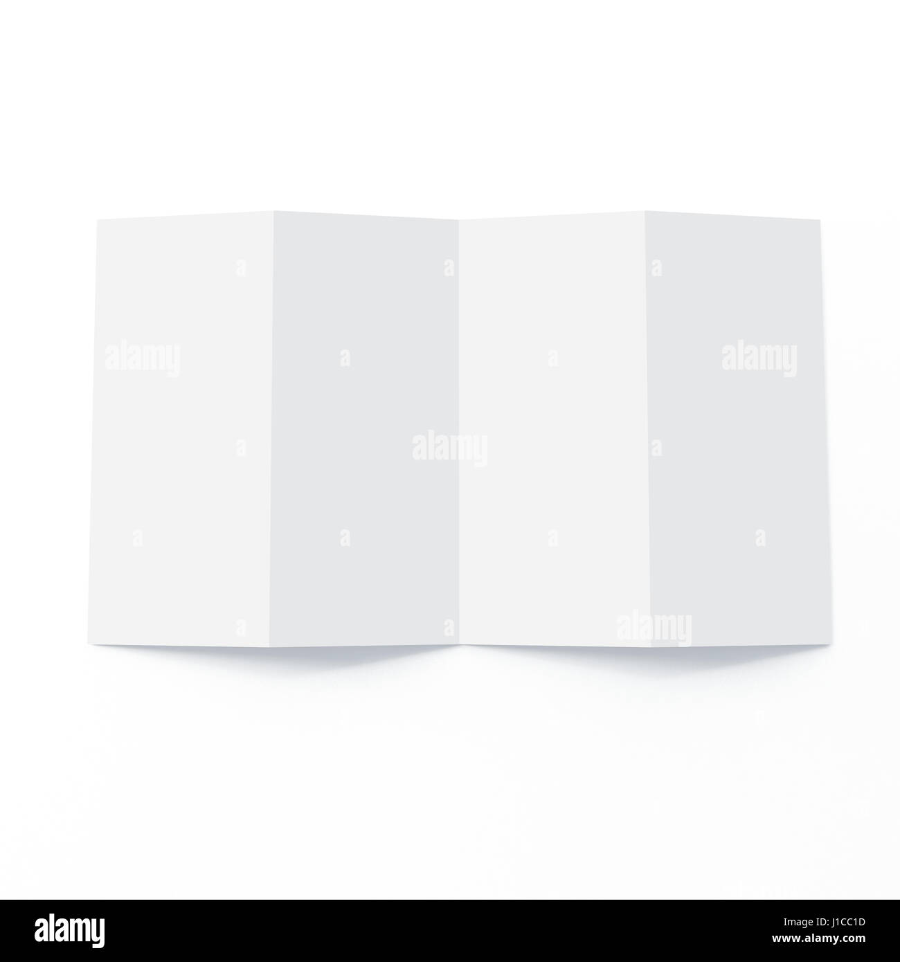 four fold brochure mock up on isolated white background stock photo