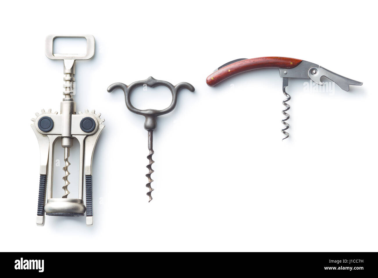 Various types of corkscrews isolated on white background. - Stock Image