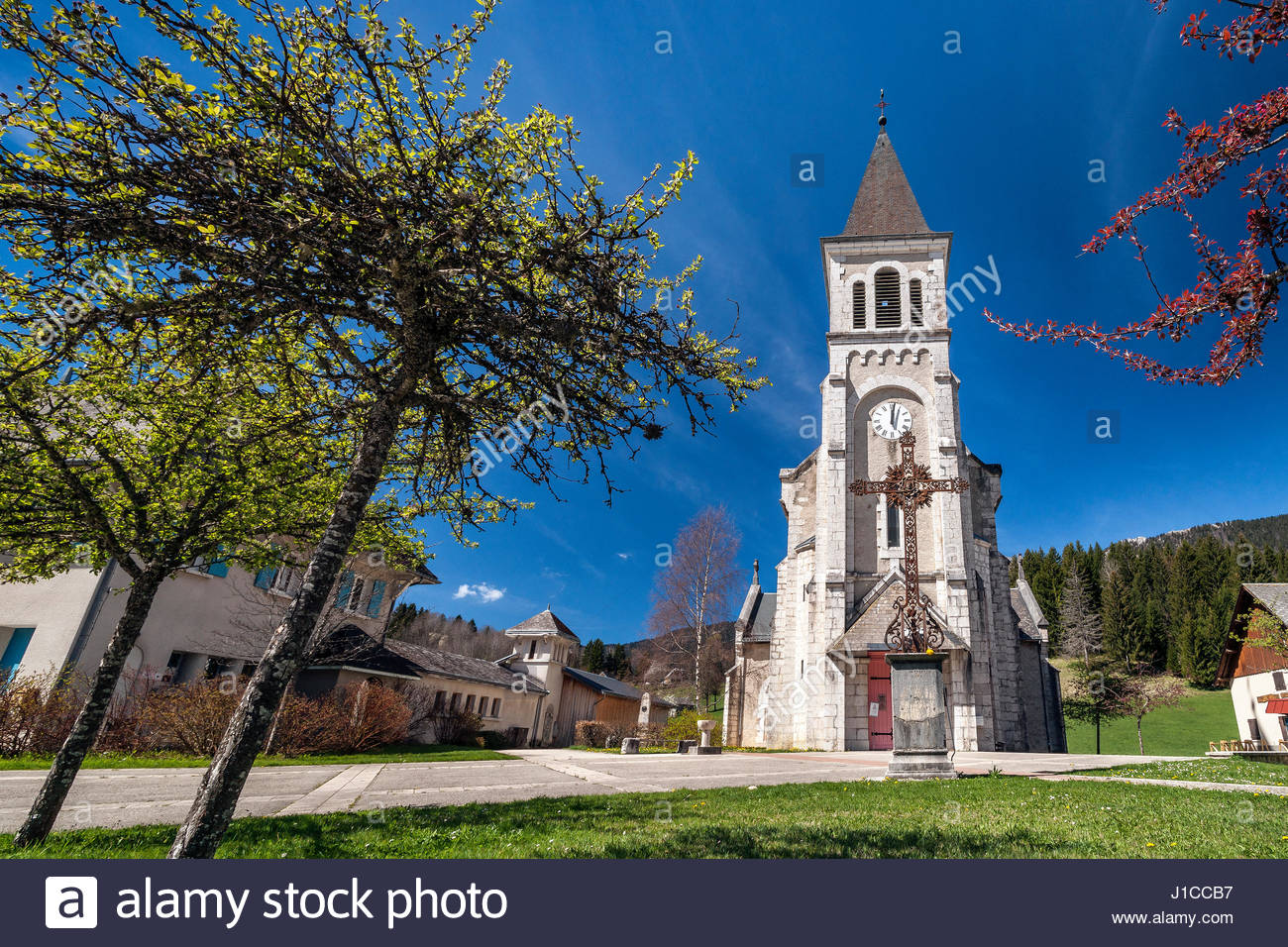 Saint Hugues de Chartreuse church in Saint Pierre de Chartreuse - Isere - France. Museum of Contemporary Sacred - Stock Image