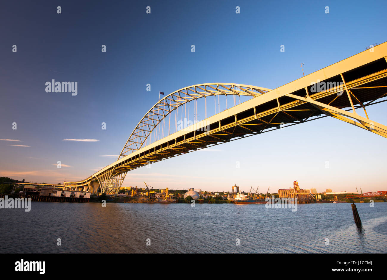 Fremont Bridge with the largest arch in America Portland Oregon Willamette River. The bridge was built across the Stock Photo