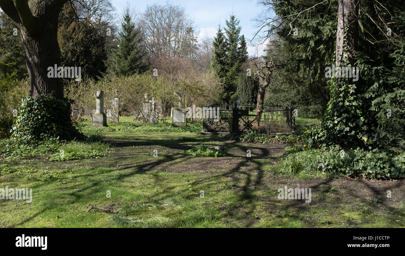 A quiet part of Assistens Kirkegård (Cemetery), resting place danish notables including Hans Christian Andersen, - Stock Image