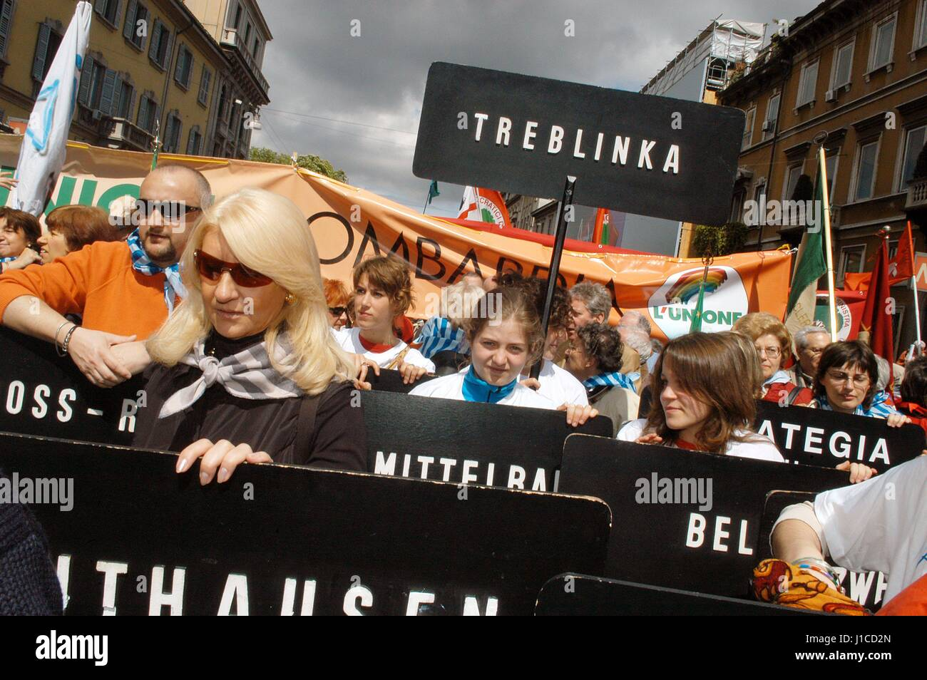 """Milan (Italy), """"Memory Day"""", demonstration in memory of deportees in the Nazi concentration camps Stock Photo"""