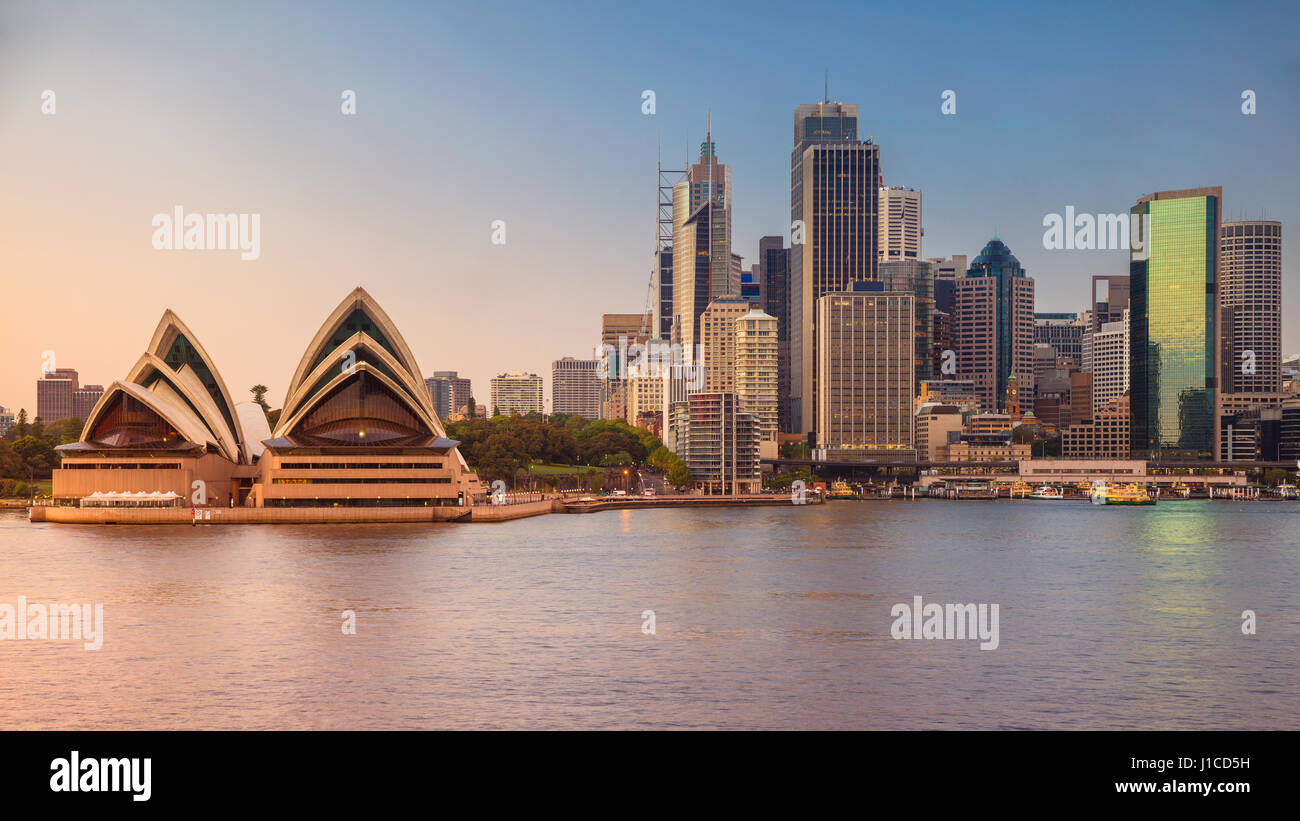 City of Sydney. Cityscape image of Sydney and Opera House, Australia during sunrise. - Stock Image