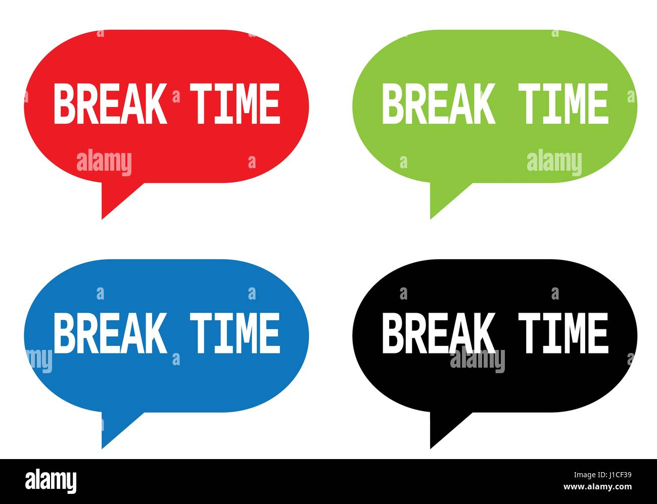 BREAK TIME Text On Rectangle Speech Bubble Sign In Color Set