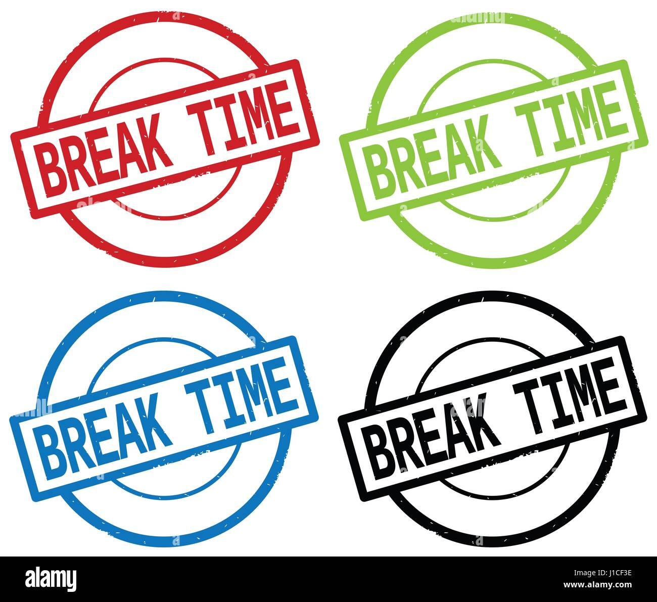 BREAK TIME Text On Round Simple Stamp Sign In Color Set
