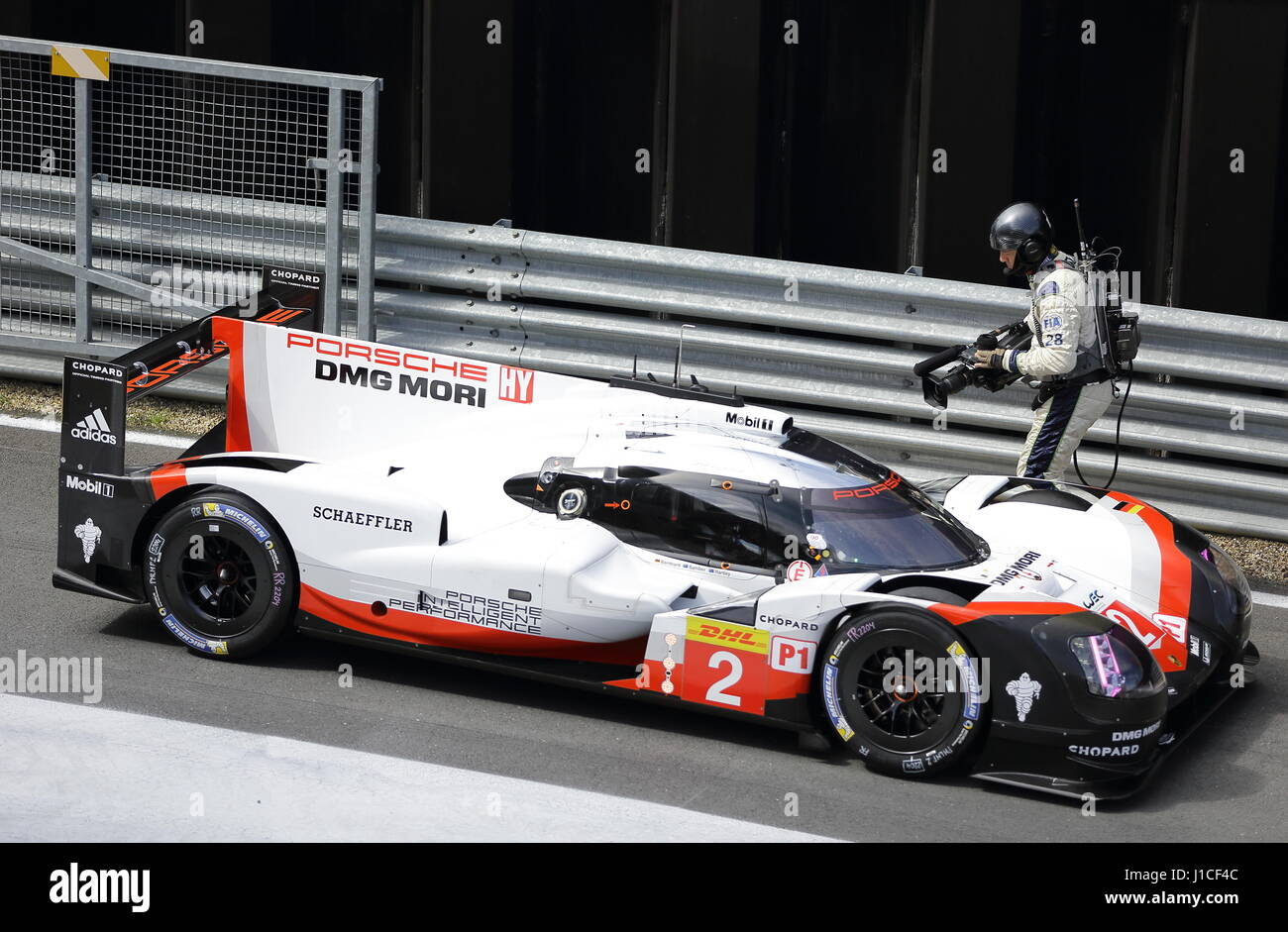 Porche 919 Hybrid 2017 exiting the pit lane at the Silverstone WEC April 15 2017 Stock Photo