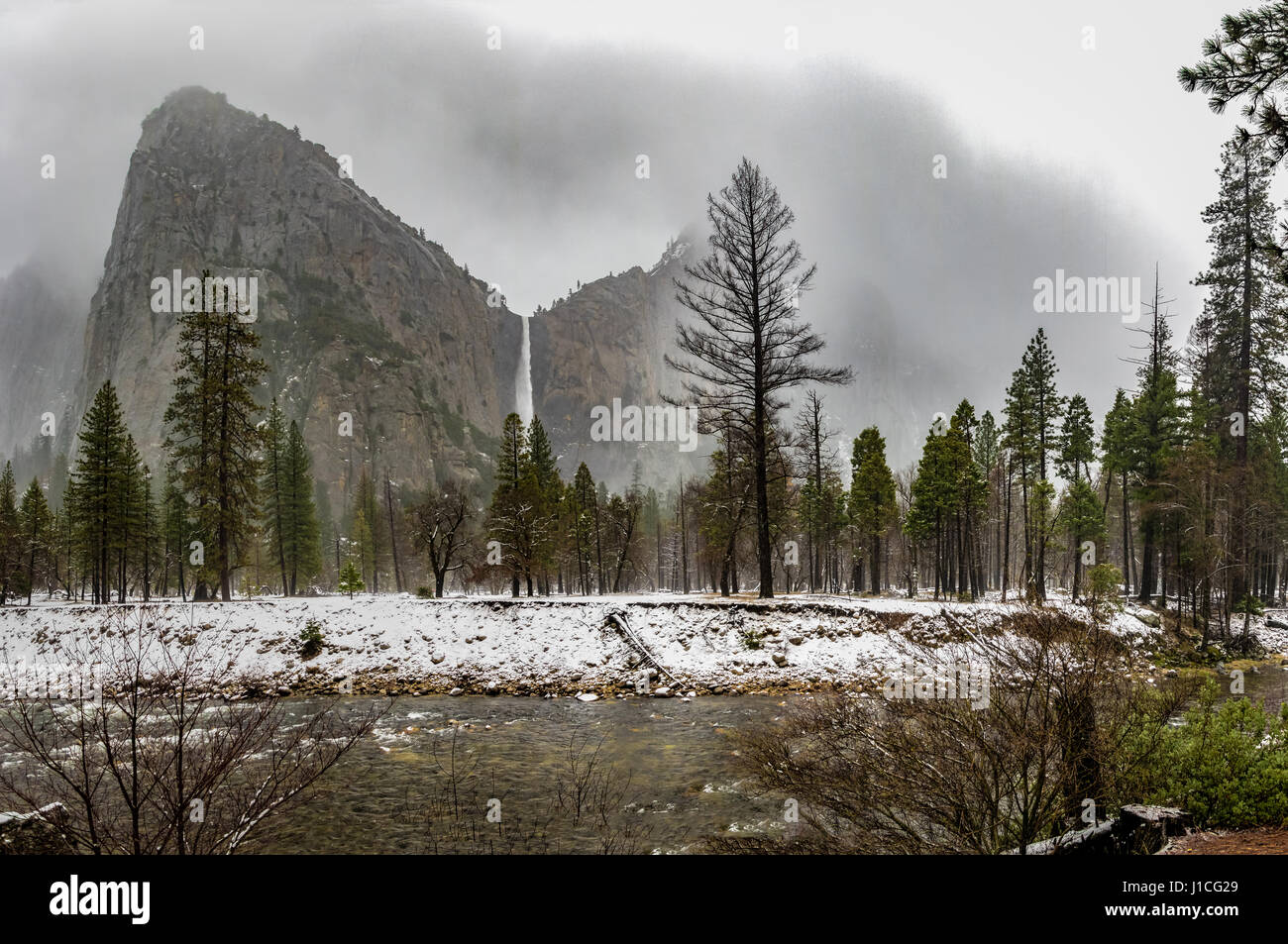 Bridalveil Fall at Winter - Yosemite National Park, California, USA - Stock Image