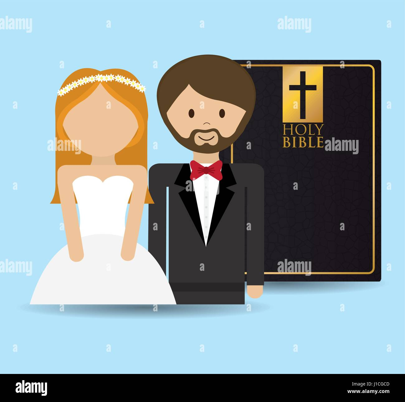 get married couple bible card - Stock Vector