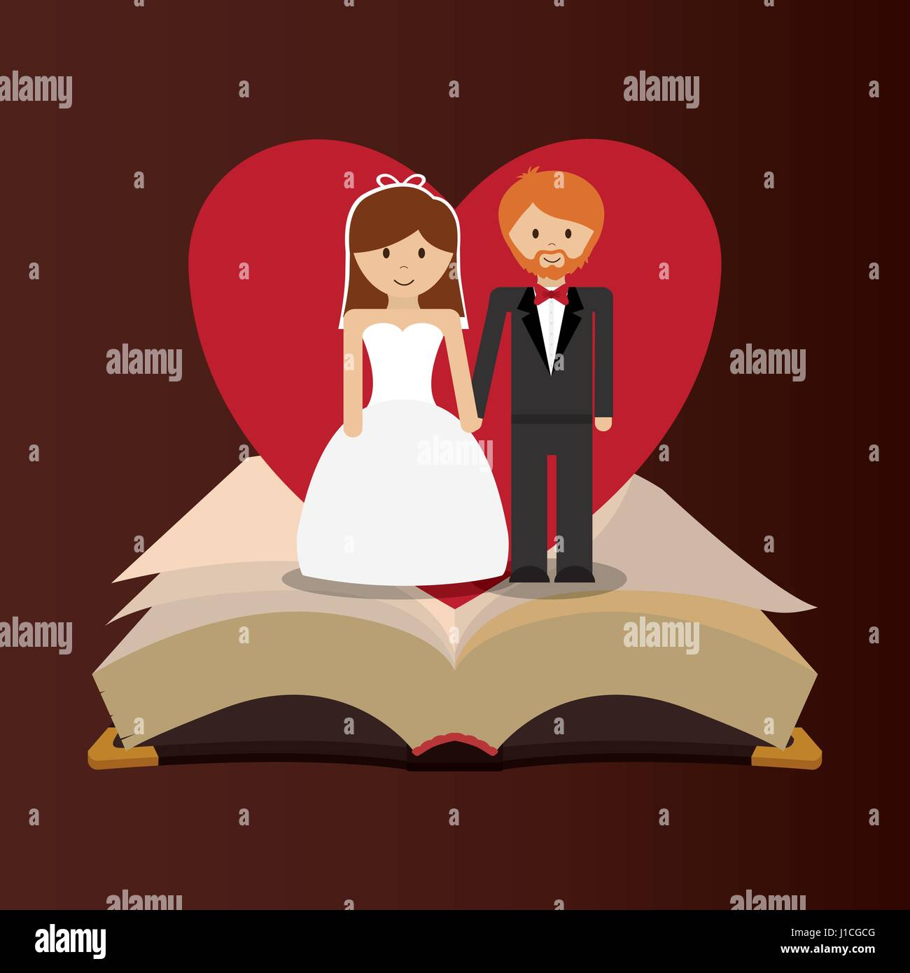 get married couple bible heart card - Stock Vector
