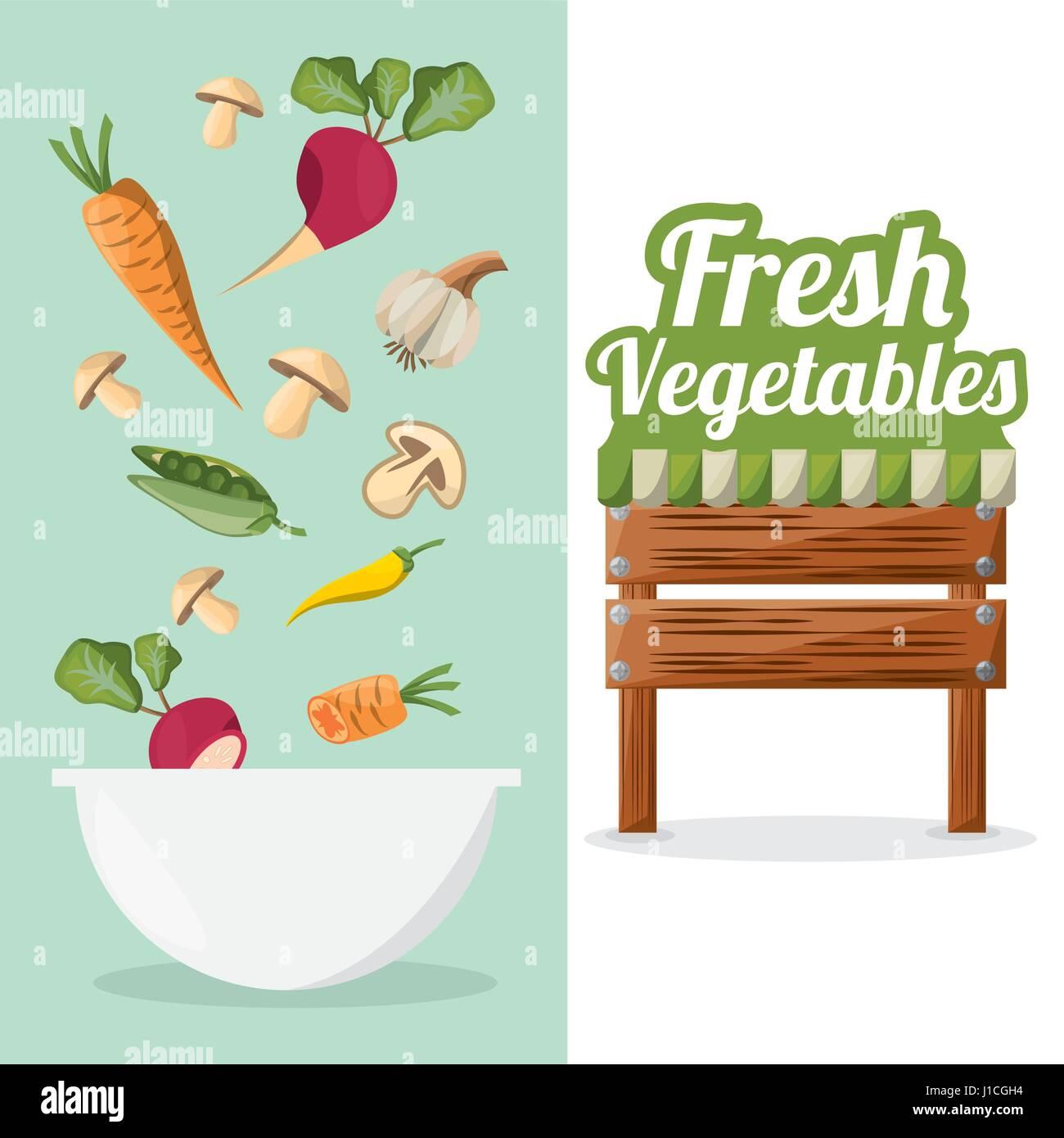 fresh vegetables bowl food market image - Stock Vector