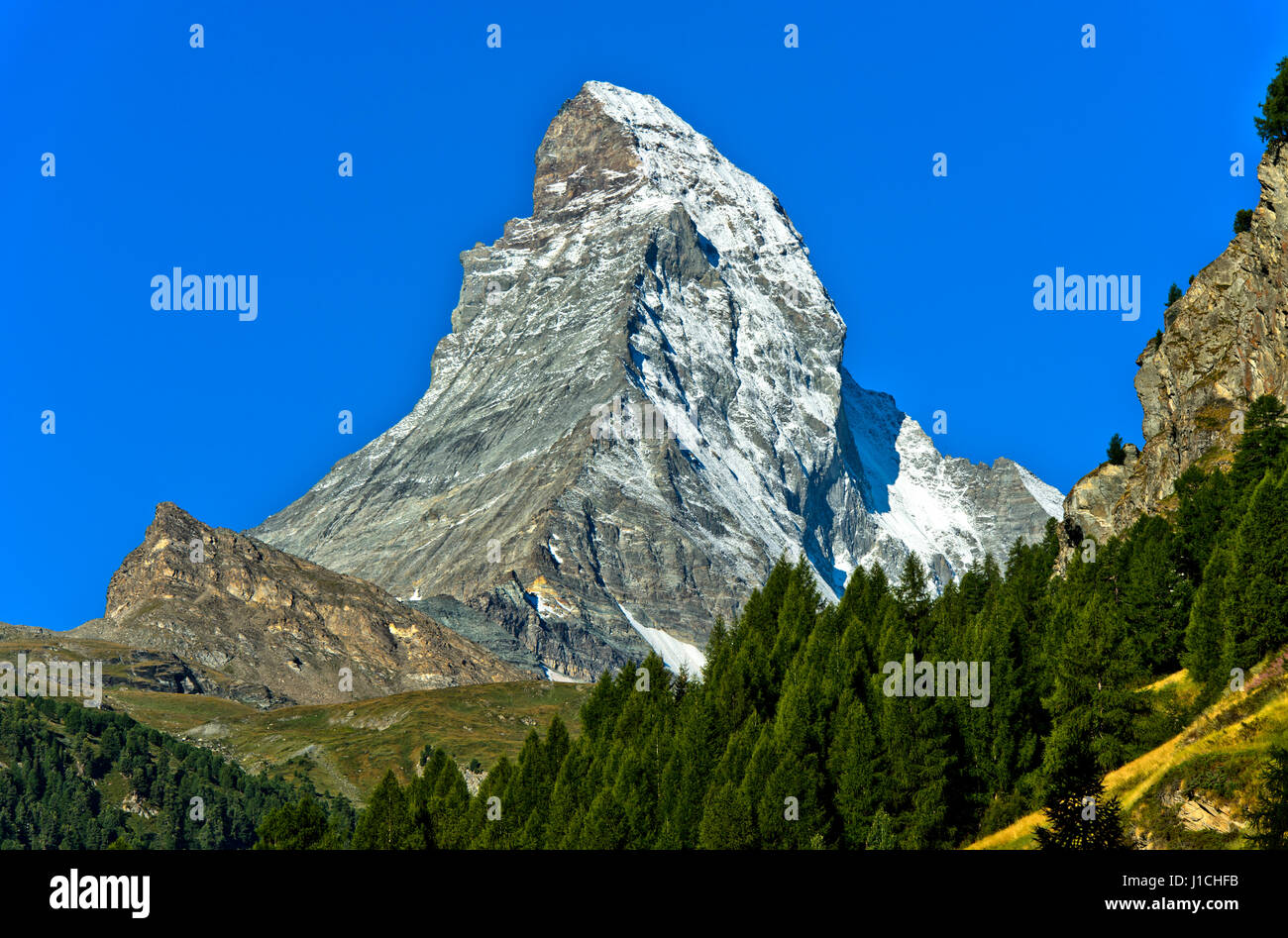 Matterhorn seen from Zermatt, Valais, Switzerland - Stock Image