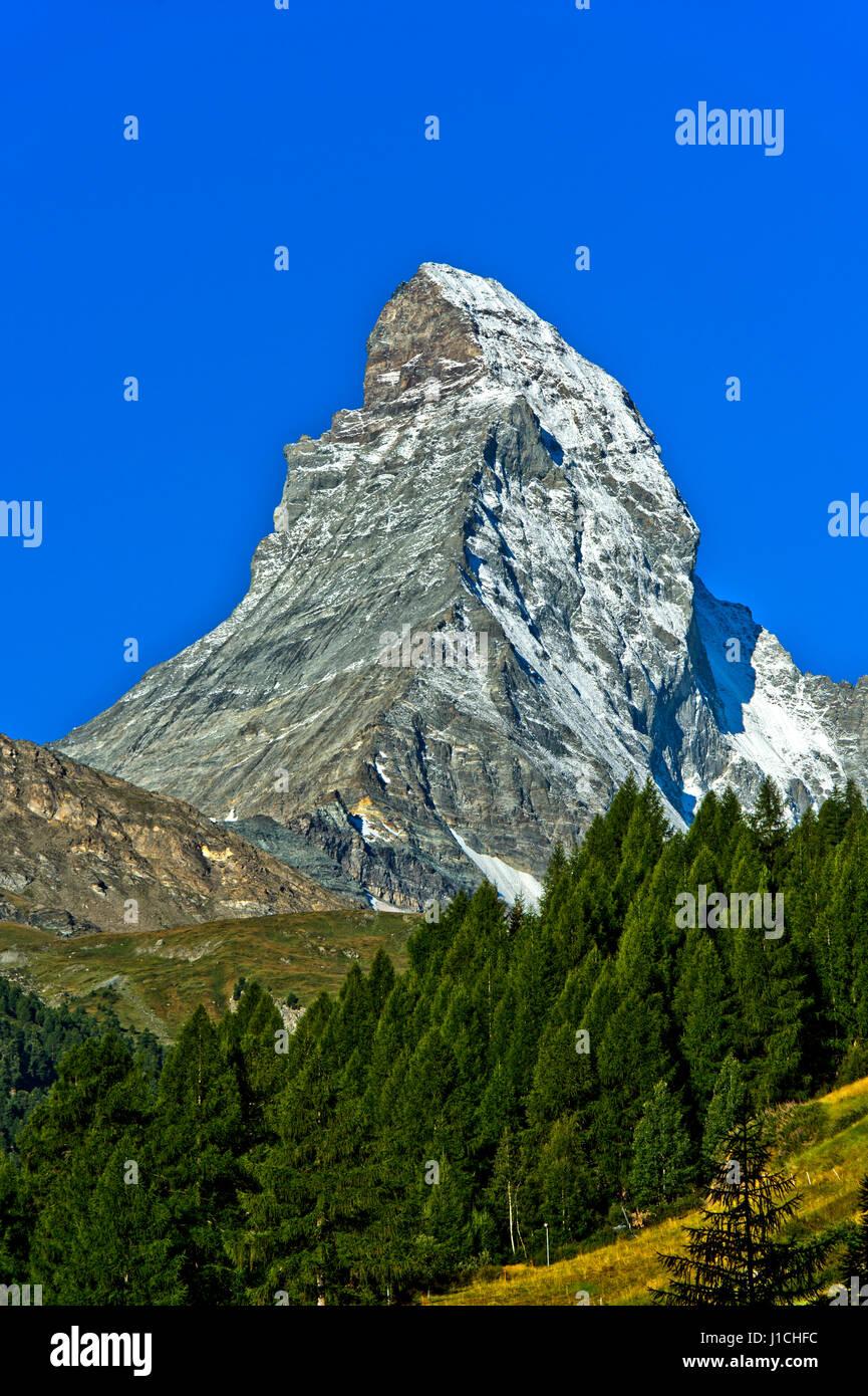 Matterhorn seen from Zermatt, Valais, Switzerland - Stock Image