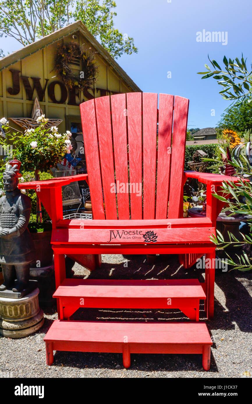 An Oversized Red Adirondack Chair At J. Woeste In Los Olivos, CA Sells  Unusual Garden Art And Home Decor In The Heart Of Santa Ynez Wine Country
