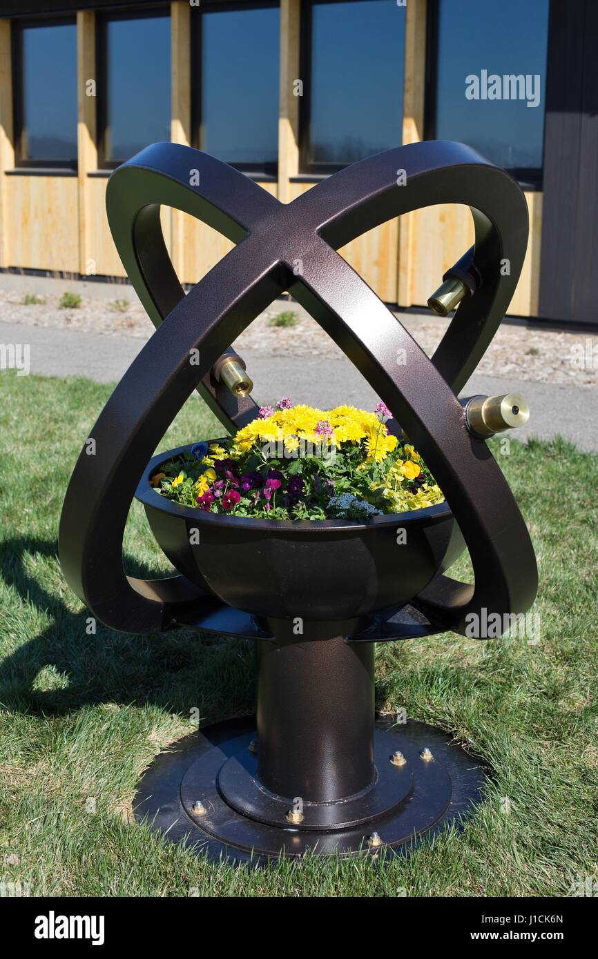 A garden kaleidoscope by artist Robert Anderson, on display at the Minnesota Landscape Arboretum, in Minneapolis. - Stock Image