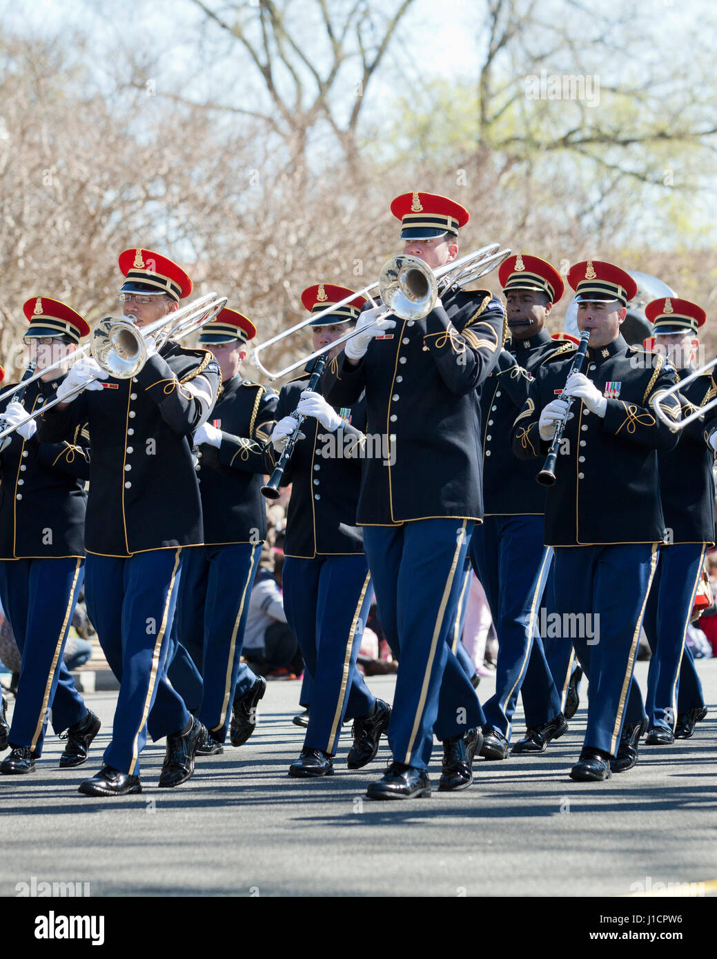 The US Army Band participating in a street parade - Washington, DC USA - Stock Image