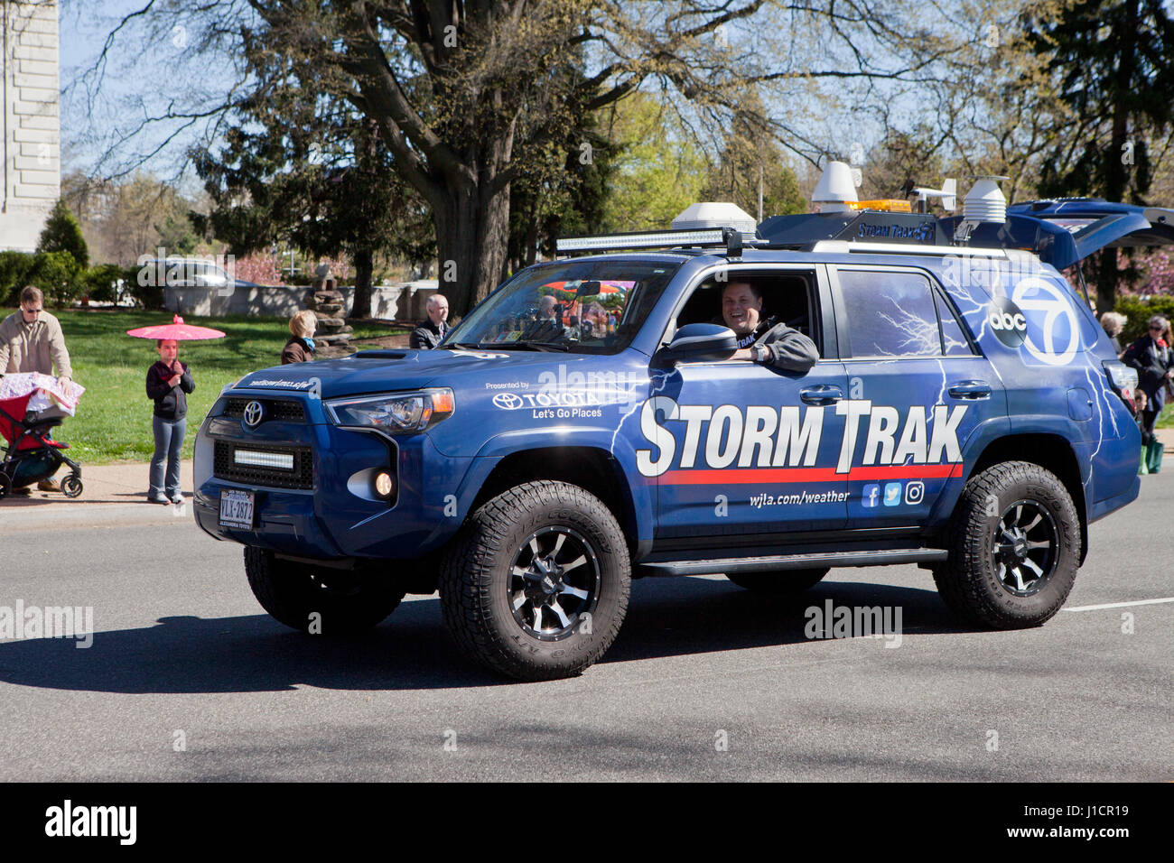 TV News outlet meteorologist storm tracking truck - USA - Stock Image