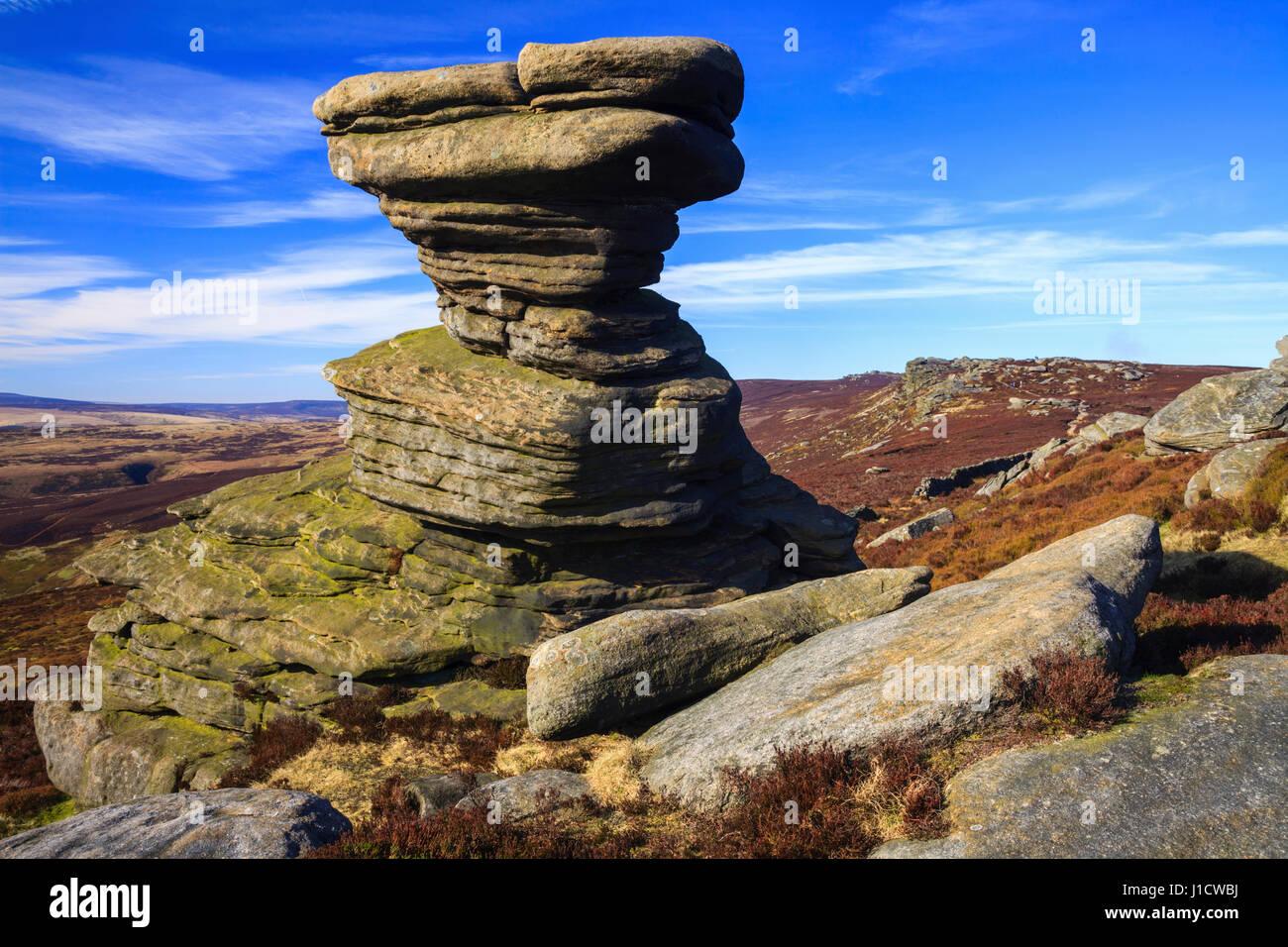 The Salt Cellar on Derwent Edge in the Peak District National Park - Stock Image