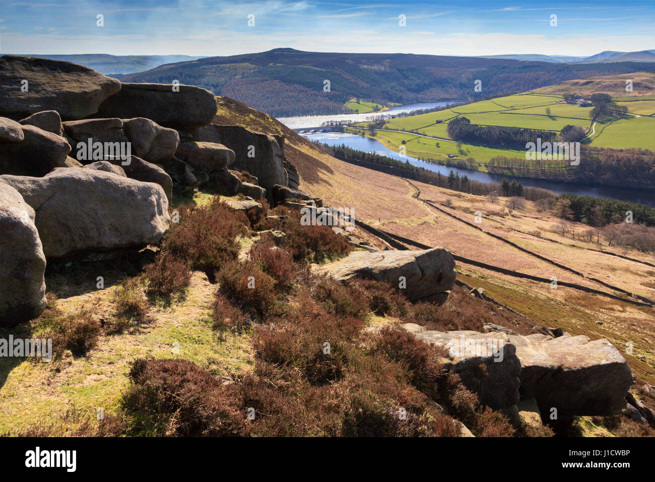 Winstone Lee Tor on Derwent Edge in the Peak District National Park - Stock Image