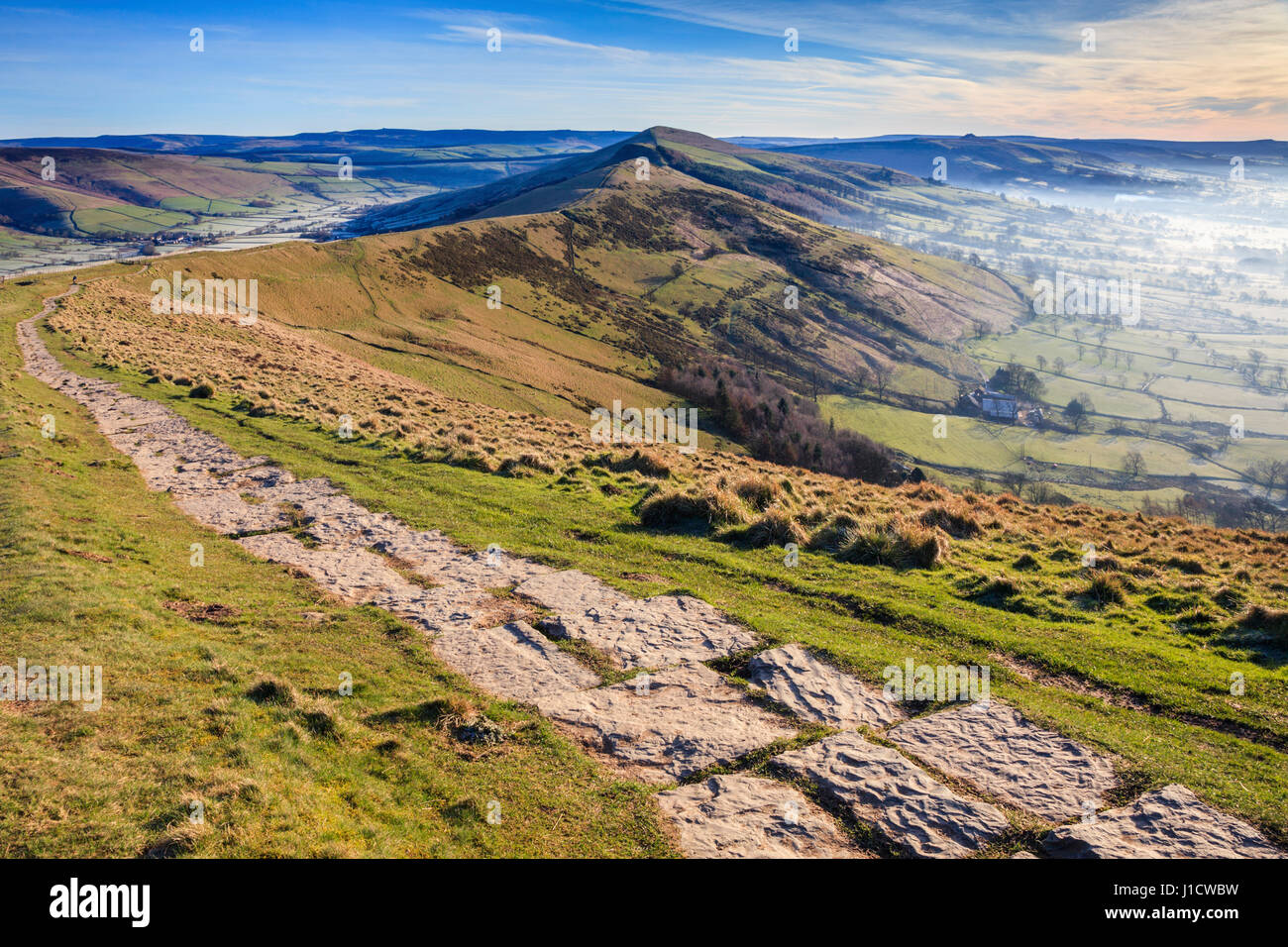 The Hope Valley captured on a misty morning from near Mam Tor. - Stock Image