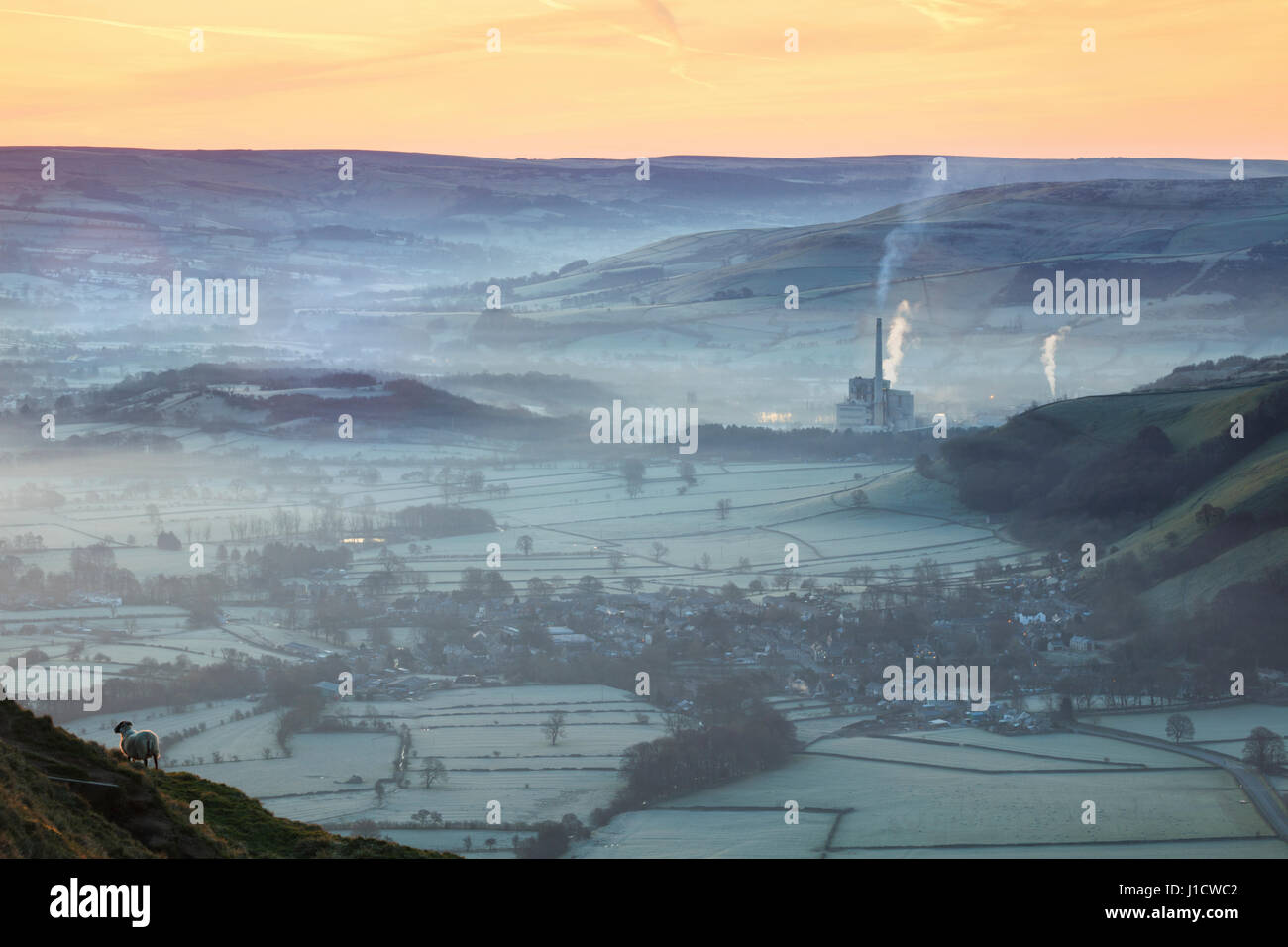 The Hope Valley captured on a misty morning from the Great Ridge near Mam Tor. - Stock Image
