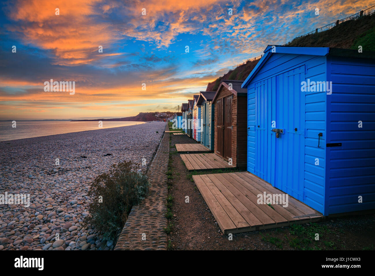 Beach Huts at Budleigh Salterton in South East Devon - Stock Image