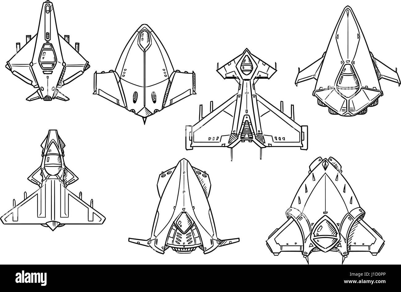 Set Of Hand Drawn Spacecraft Spaceship Designs Concept Art In Black