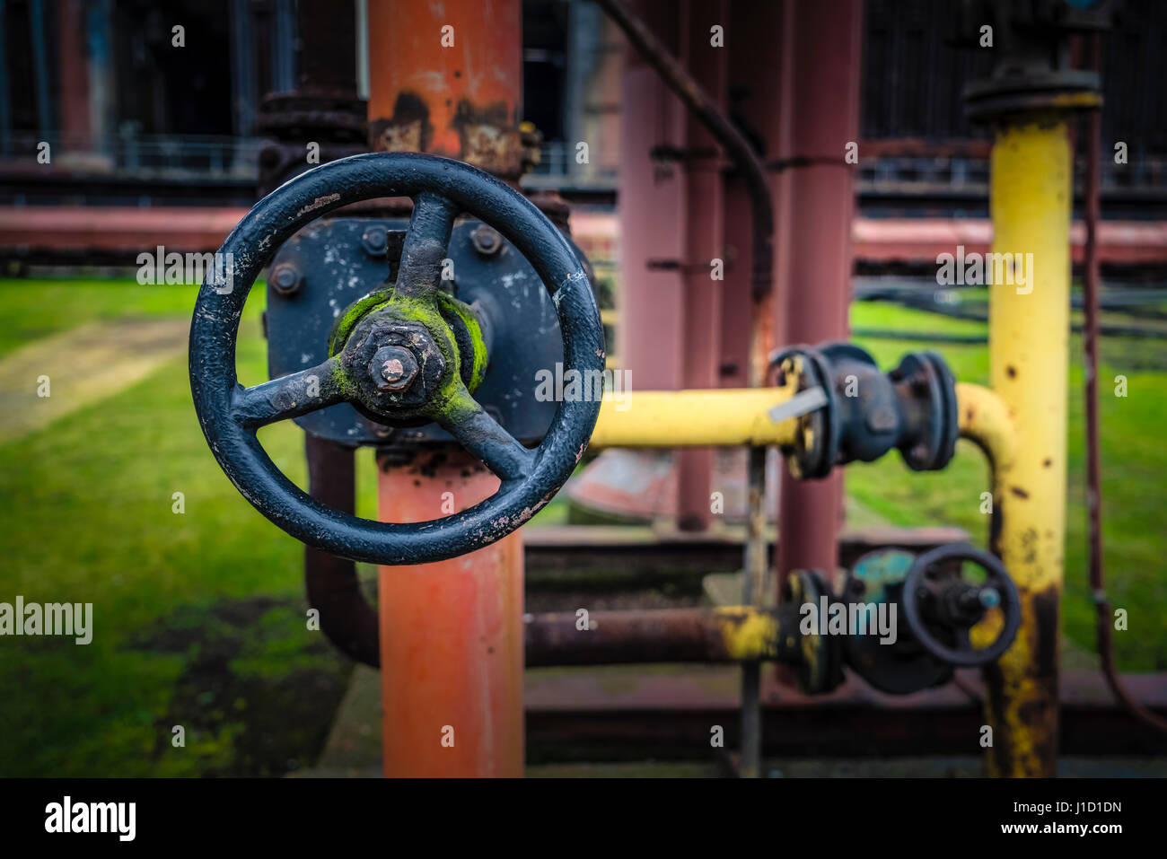 An old valve, which belongs to the coke oven plant of Zollverein in Essen, Germany, which is an UNESCO World Heritage - Stock Image
