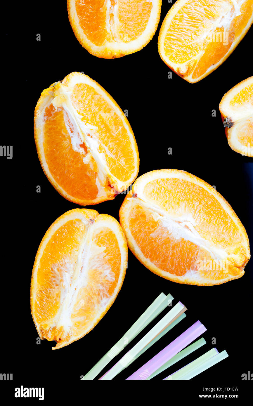 close-up photo of delicious fresh oranges into wedges - Stock Image