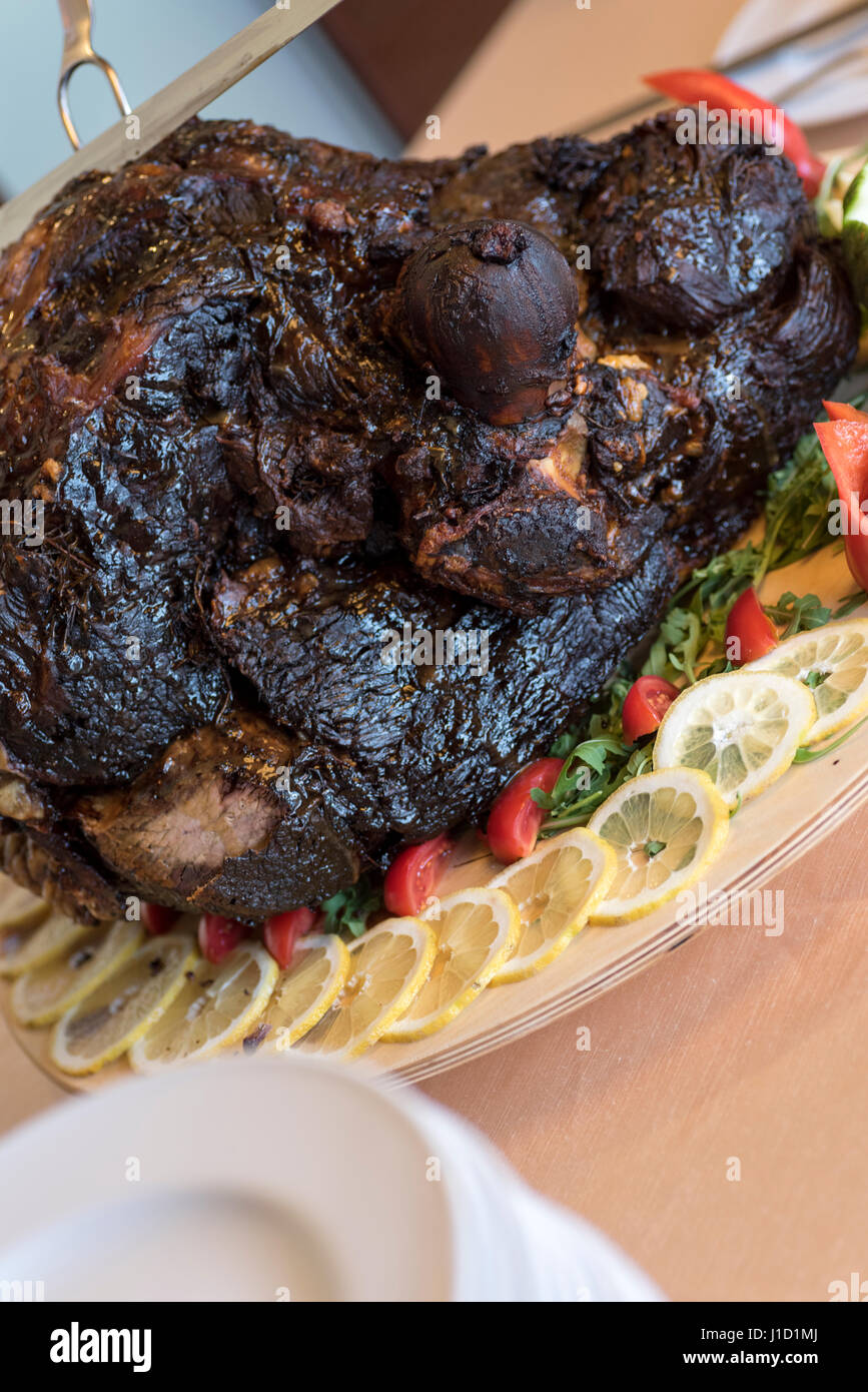 roast leg of veal in full view - Stock Image