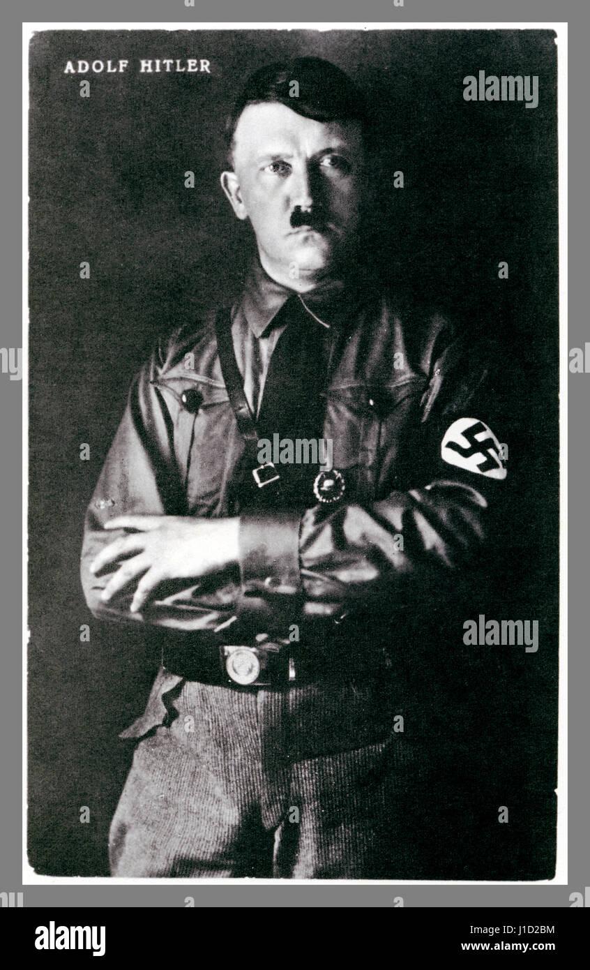 1930's B&W studio posed portrait photograph of Adolf Hitler in uniform wearing a swastika armband. - Stock Image