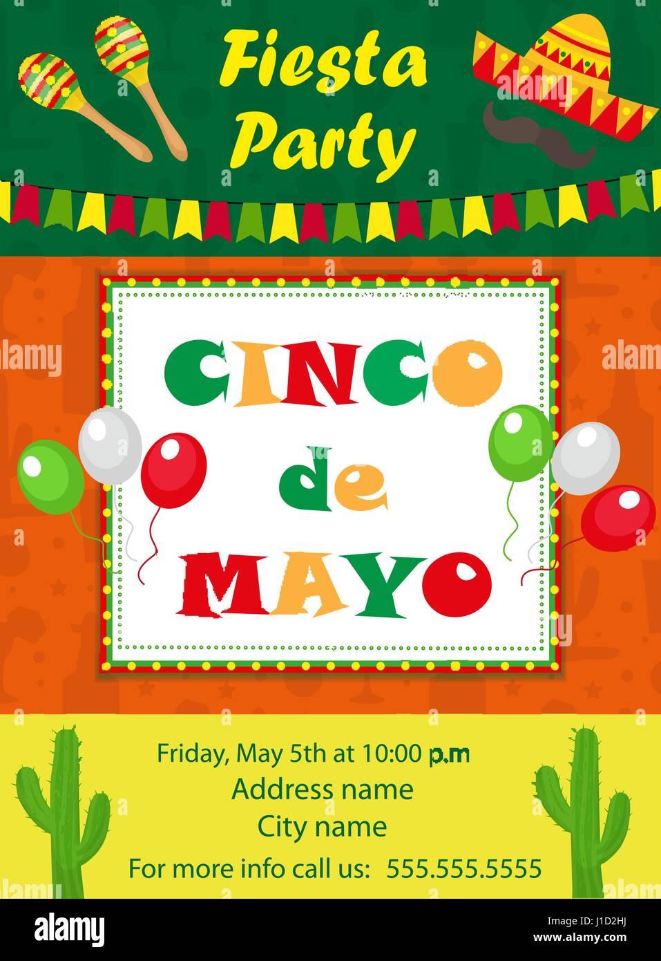 Cinco De Mayo Invitation Template Flyer Mexican Holiday