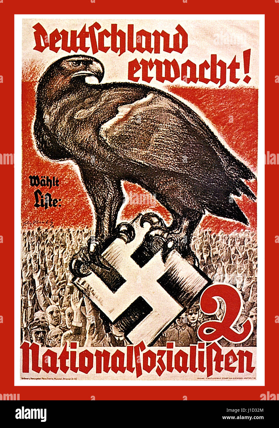 1930's pre-war German Nazi propaganda poster for The National Socialist Party saying  'GERMANY AWAKE' - Stock Image