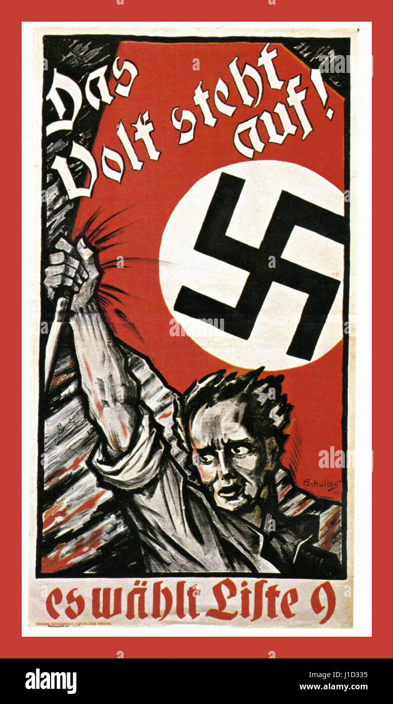1930's German Nazi propaganda poster for The National Socialist Party saying 'Only Adolf Hitler can save - Stock Image
