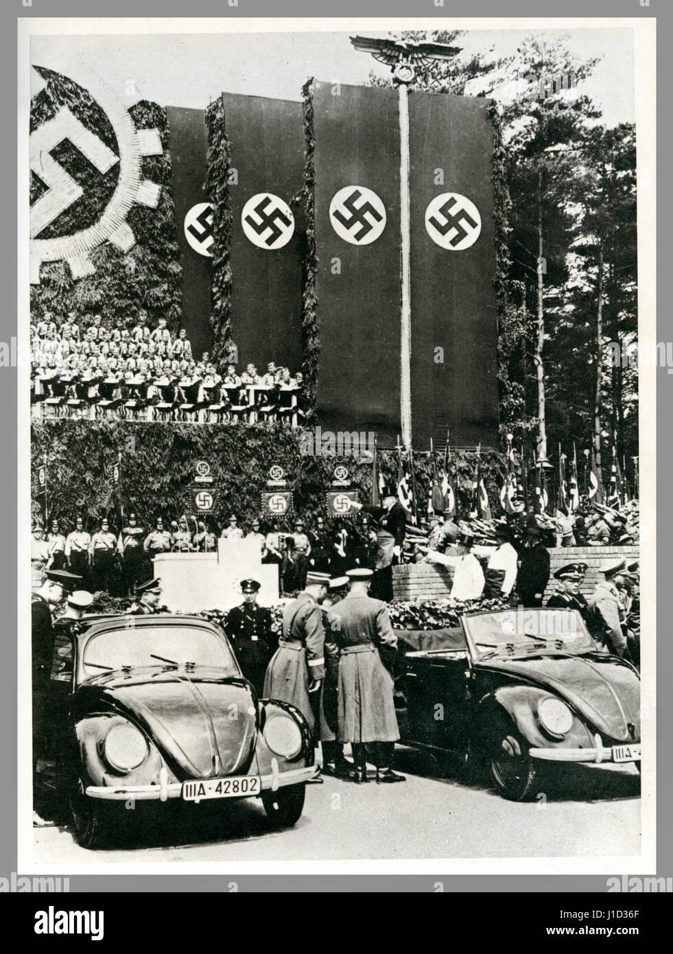 German propaganda image May 26th 1938 foundation stone laying ceremony at Fallersleben Wolfsburg Volkswagen factory - Stock Image