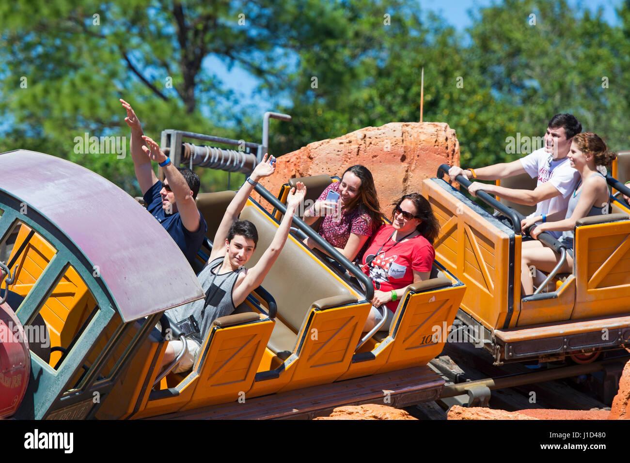 Disney Ride Rides, Big Thunder Mountain Railroad, Disney World, Orlando  Florida - Stock Image