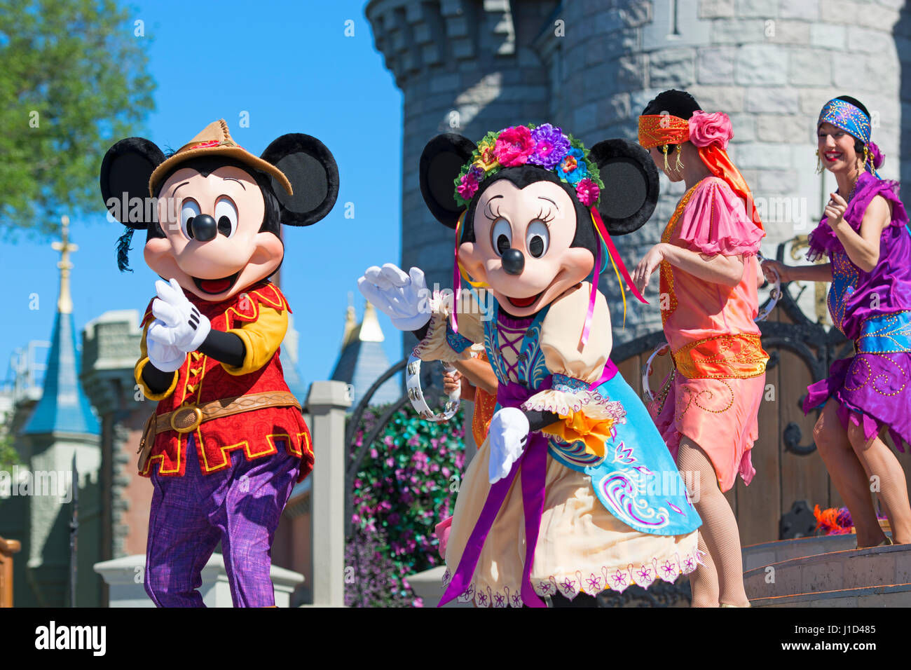 Mickey Mouse and Minnie Mouse, Mickey's Royal Friendship Faire Live show at Cinderella Castle, Magic Kingdom, - Stock Image