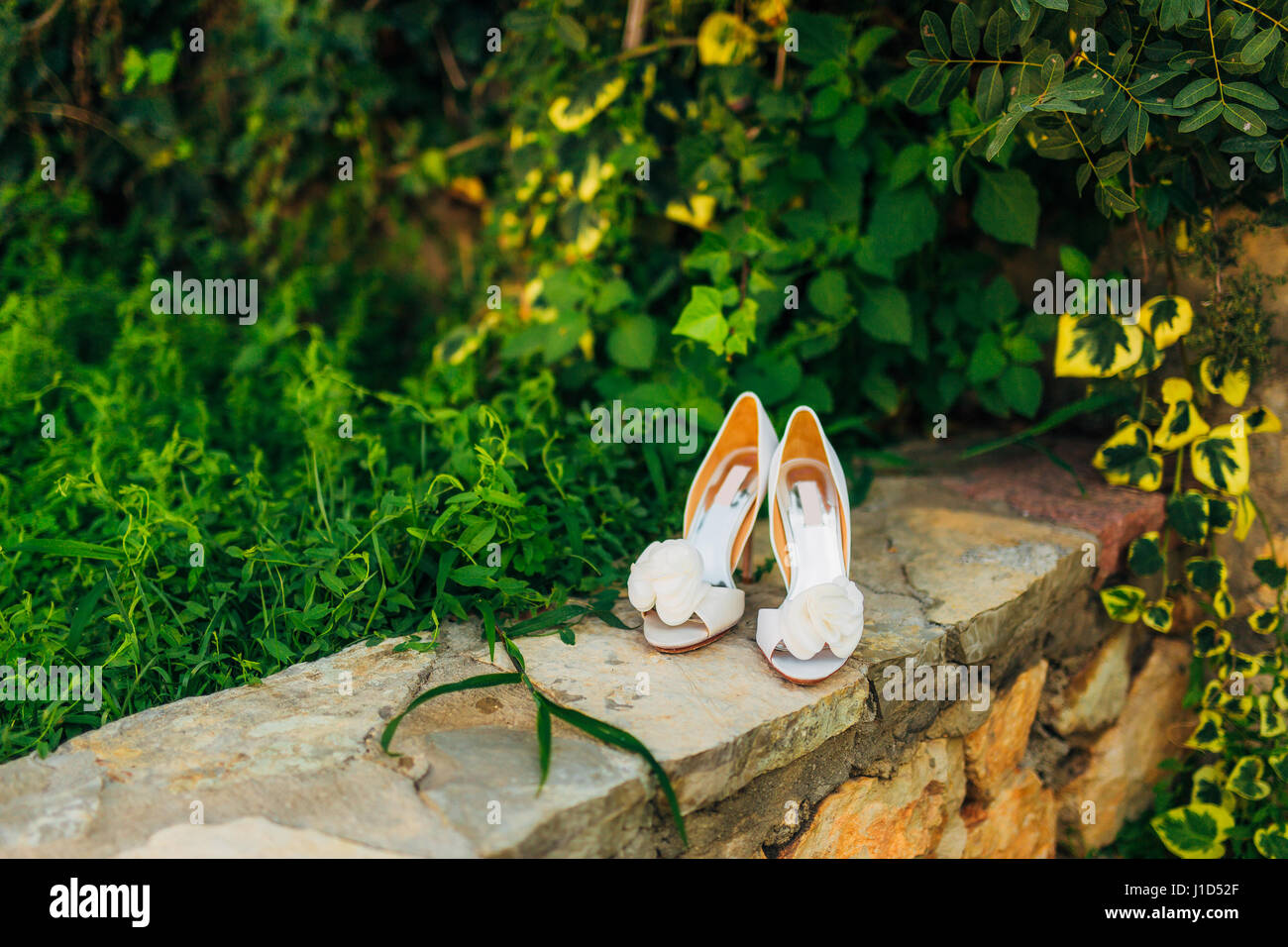 Wedding shoes on a stone border against a background of green leaves Stock Photo