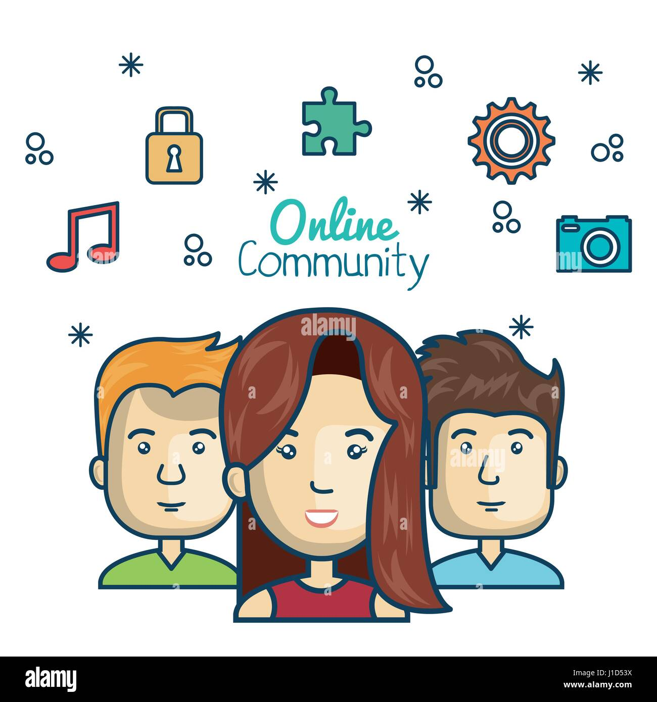 people community online concept with icons media - Stock Image
