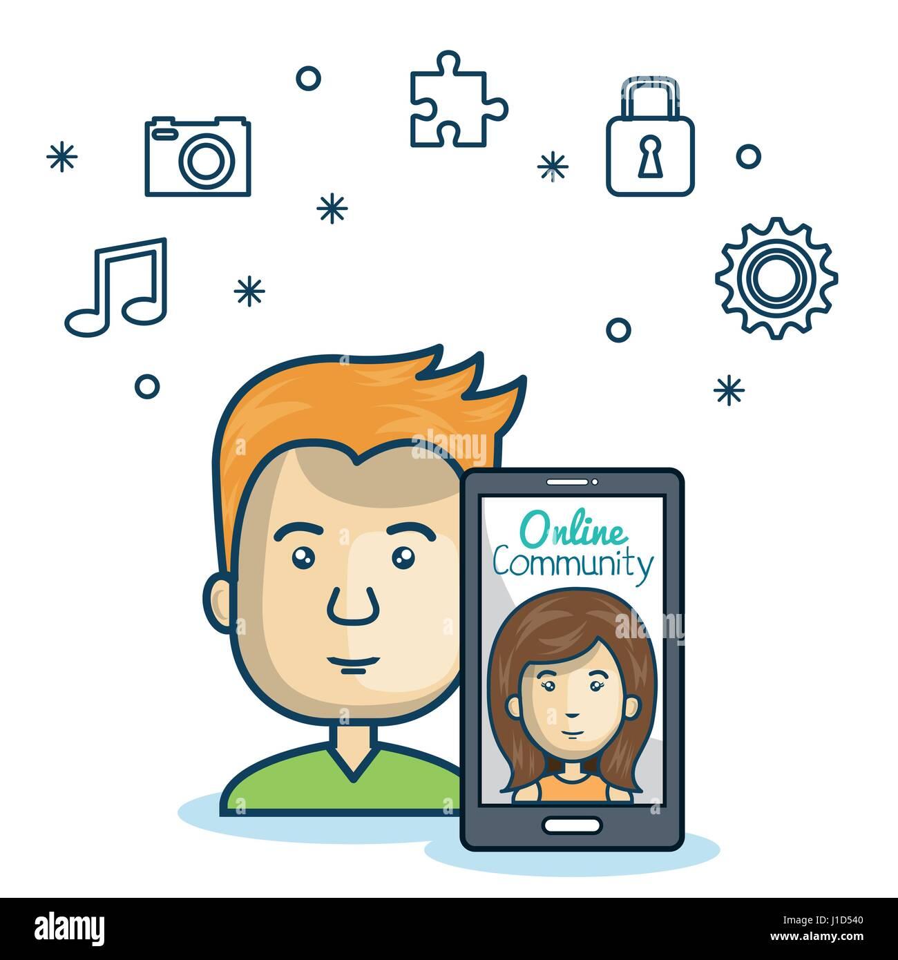 man community online smartphone with app media design - Stock Image