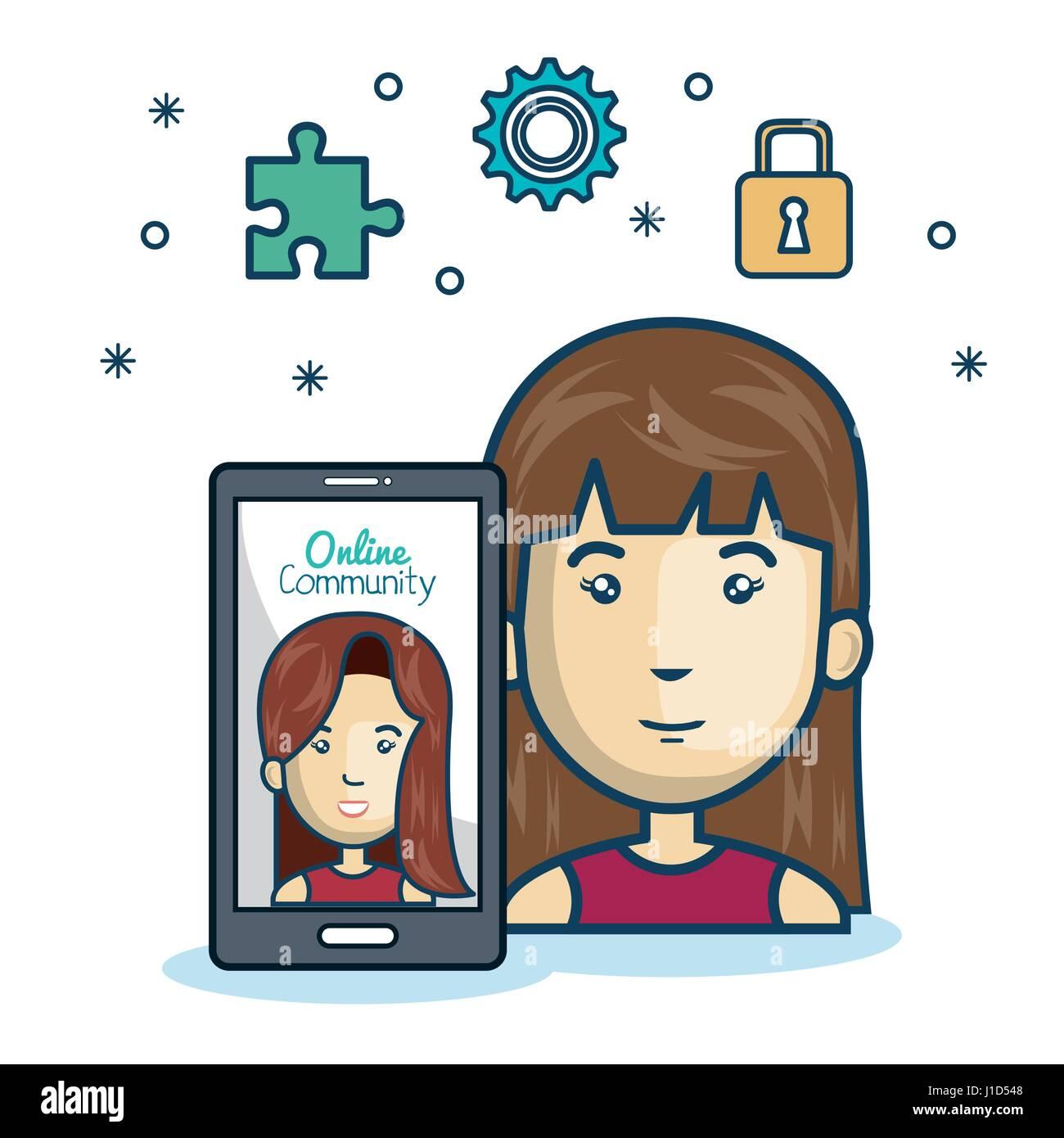 woman community online smartphone with app media design - Stock Image