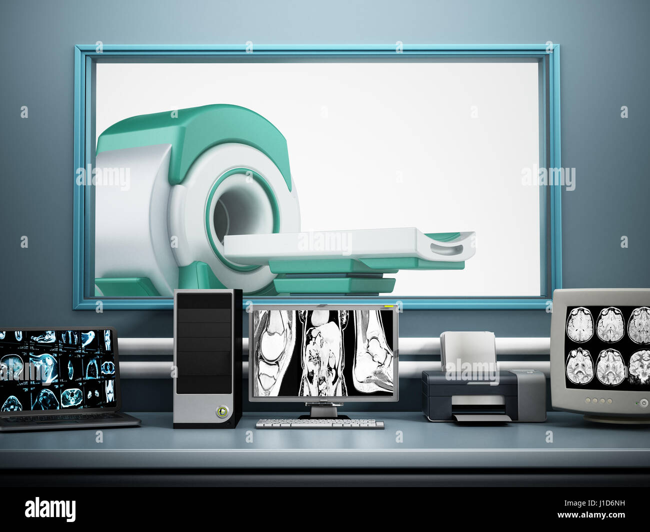 Magnetic Resonance Imaging MRI device and computer systems. - Stock Image