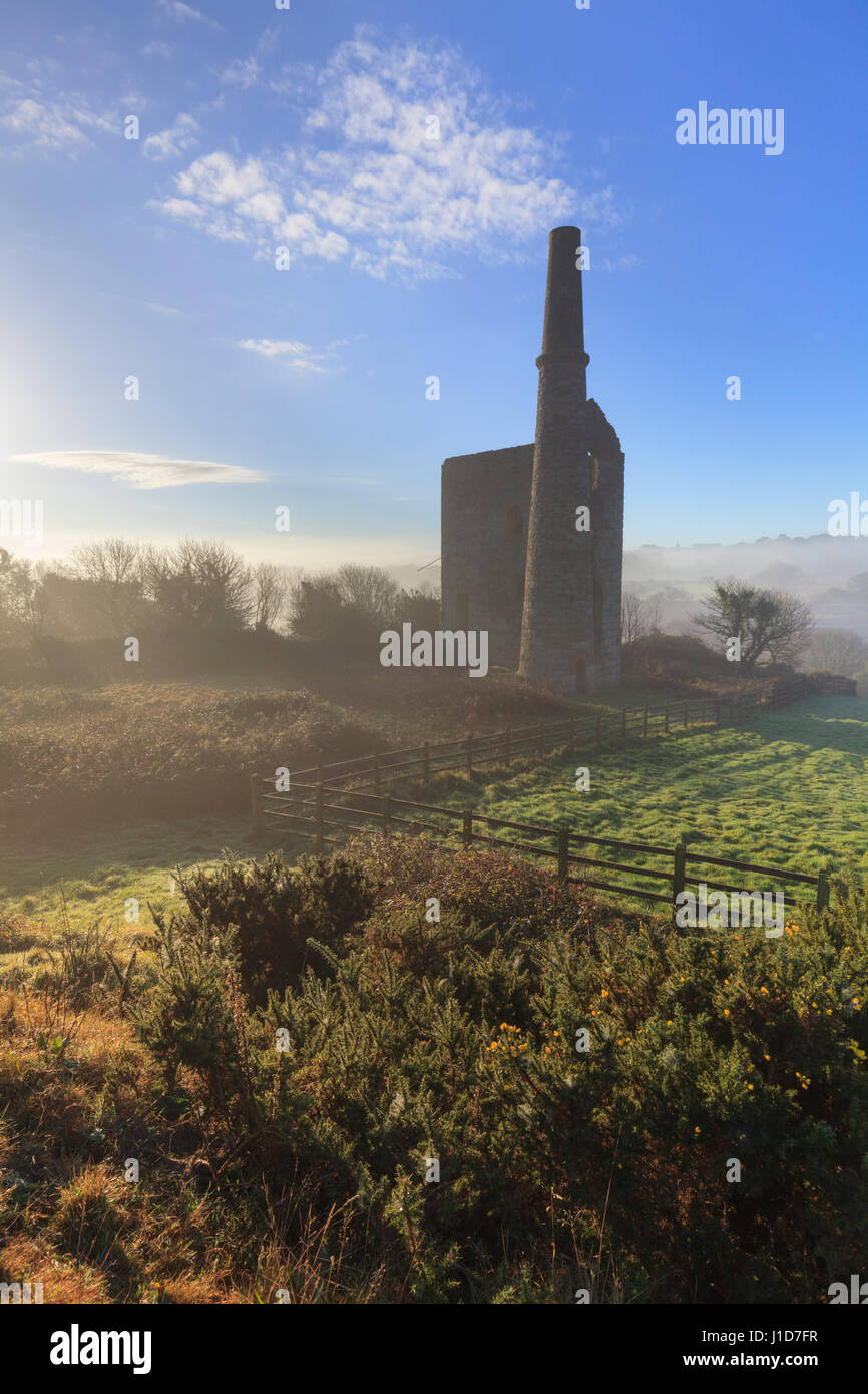 Wheal Unity Engine House at Wheal Bush in Cornwall. - Stock Image