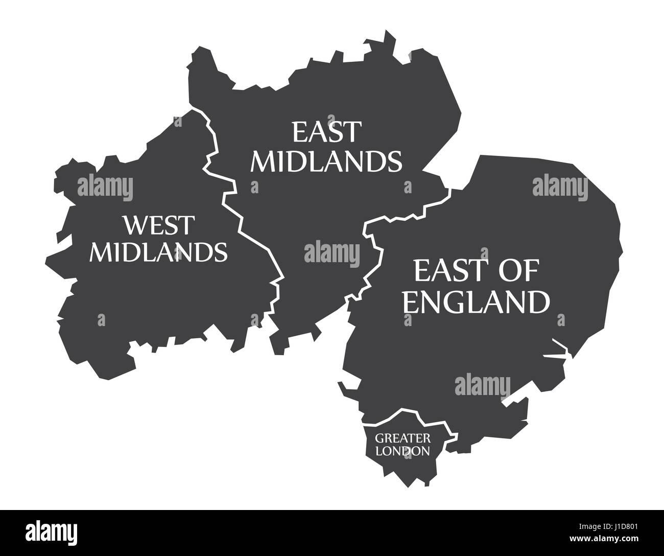 West Midlands East Midlands East Of England Greater London Map
