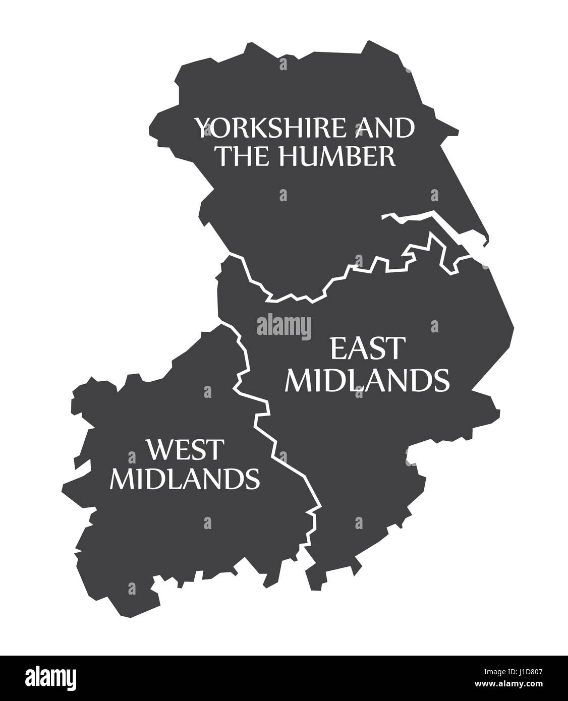 Yorkshire And The Humber East Midlands West Midlands Map Uk