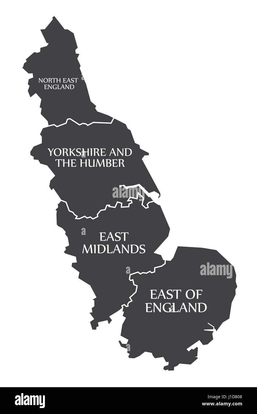East Coast of England with North East England - Yorkshire - East Midlands - East of England Map UK illustration - Stock Vector