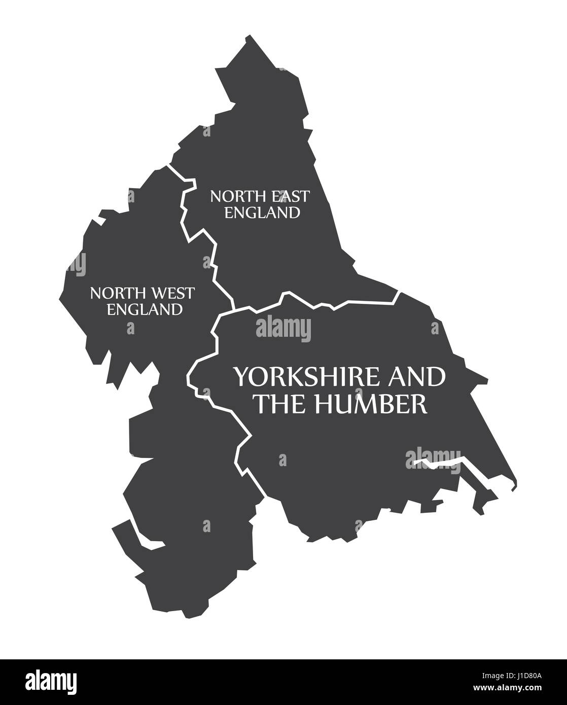 north east and north west england yorkshire and the humber map uk illustration