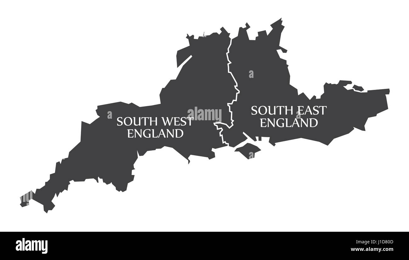 south west and south east england map uk illustration