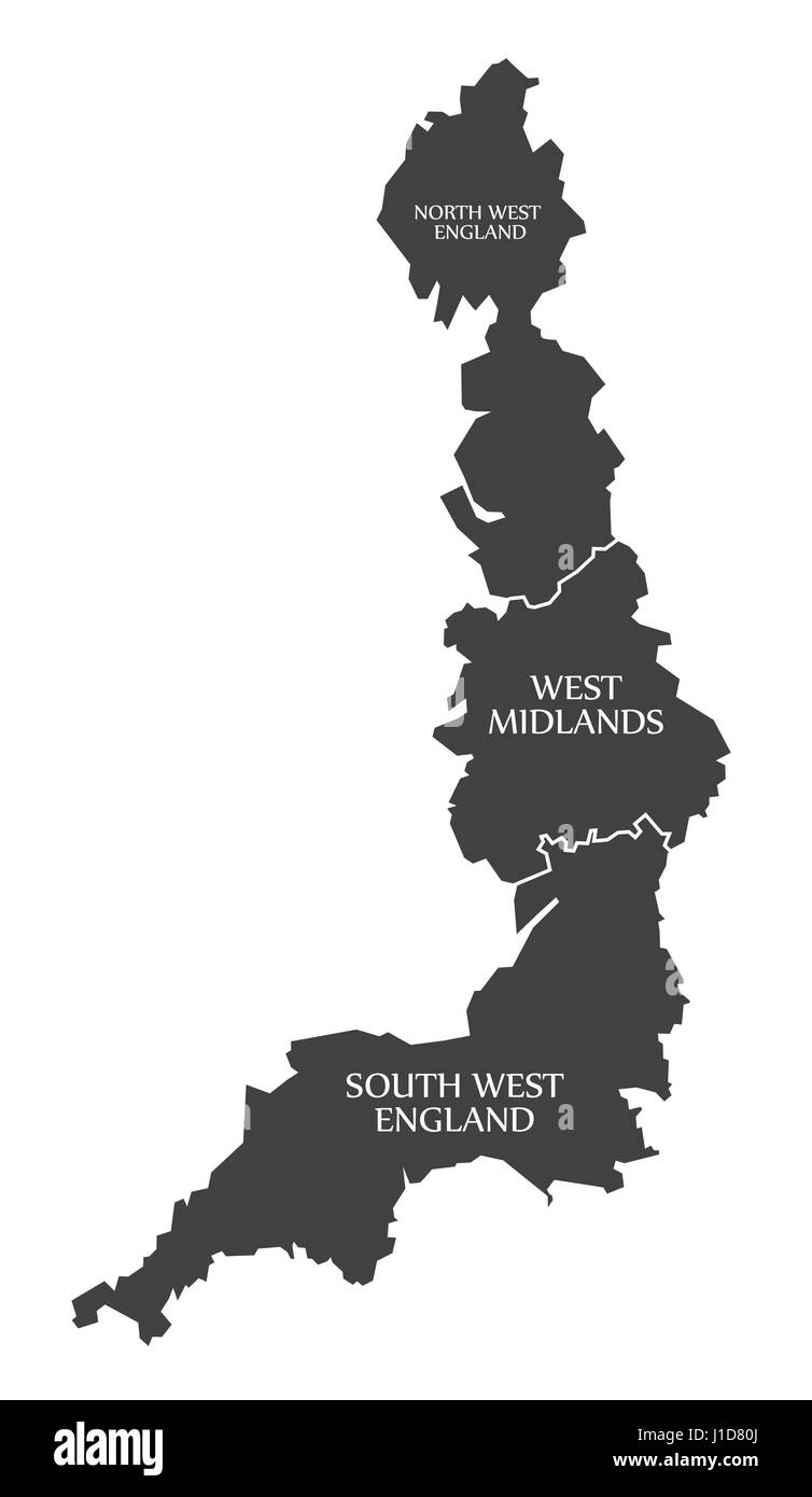 West Coast of England with North West England - West Midlands - South West England Map UK illustration - Stock Vector